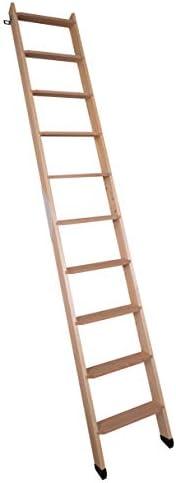 DOLLE Hochbettleiter aus Holz mit 10 Stufen | Geschosshöhe bis 245 cm | In Natur oder Weiß lackiert | Breite: 40 cm | inkl. Fußkappen | Buche Stufen | Kiefer Holm | Anstellleiter (Naturbelassen)