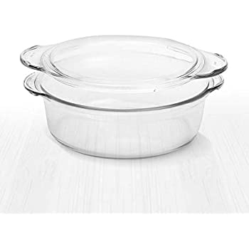 Clear Round Glass Casserole by Simax | Deep Dish, With Lid, Heat, Cold and Shock Proof, Microwave, Oven, Freezer, and Dishwasher Safe, Made in Europe (1.75 Quart)