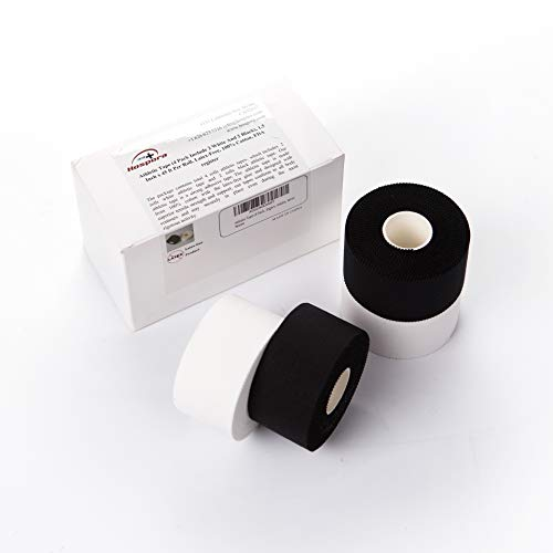 Athletic Tape - 4 Pack Include 2 White and 2 Black - 1.5 Inch x 45 ft - FDA Register - Latex-Free - No Skin Residue - Sport Tape - First Aid - Adhesive Tape - Finger Wrap - Ankle Wrap - Wrist Wrap