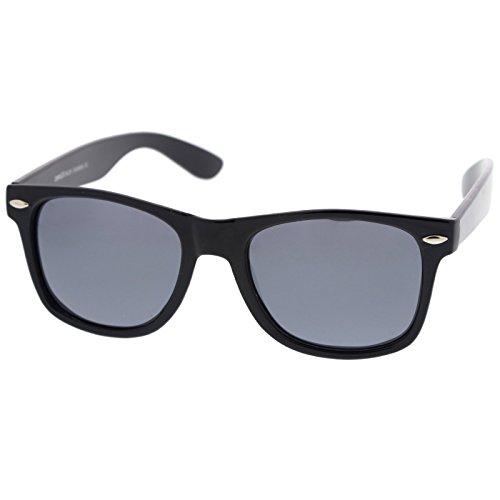 zeroUV - Retro Colored Mirror Polarized Lens Square Horn Rimmed Sunglasses 55mm (Black / Silver (Cheap Coloured Contact Lenses)