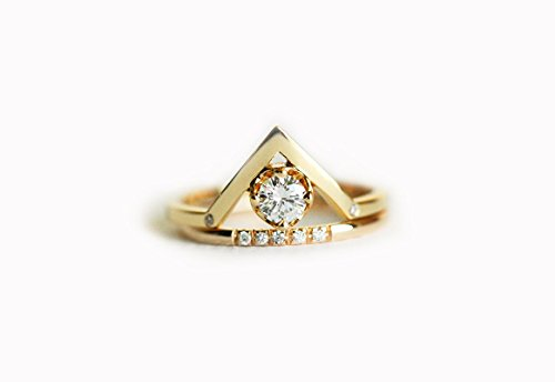 0.25 carat diamond engagement ring, 18k yellow gold diamond ring, V diamond ring, Curved diamond ring, 18k solid (0.25 Ct Dazzling Diamond)