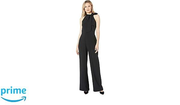 09929141c27 Amazon.com  Vince Camuto Women s Kors Crepe Bow Neck Jumpsuit Black ...