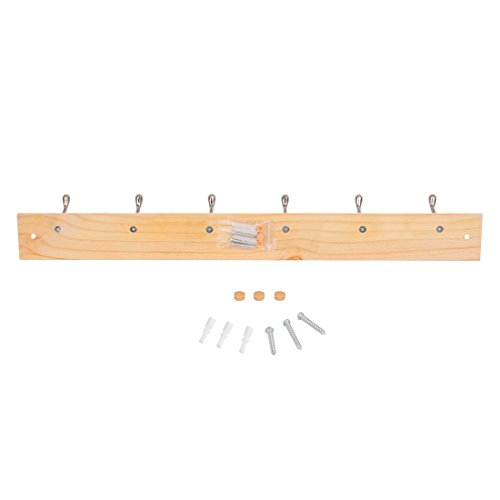DOKEHOM DKH0116NPX2 2 Set 6-Satin Nickel Hooks -(4 Colors, Available 4 and 6 Hooks)- on Pine Wooden Board Coat Rack Hanger, Mail Box Packing by DOKEHOM (Image #6)