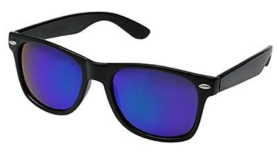 Sunglasses Classic 80's Vintage Style Design (Black, Flash Purple)