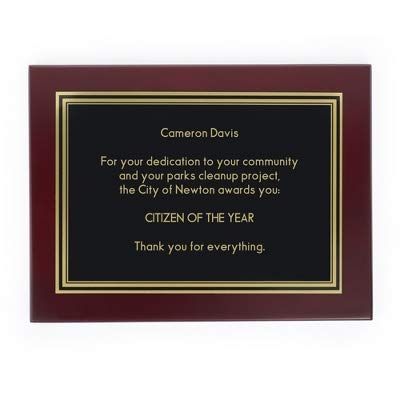 Things Remembered Personalized 8 x 10 Landscape Mahogany Plaque with Engraving Included (Engraved Message Plaque)