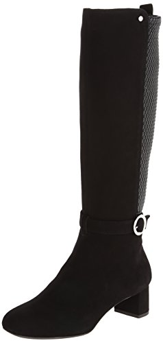 Rockport Women's Total Motion 45mm Square Tall Buckle Boot Black Suede/Tex Stretch Boot 11 M (B) (Square Covered Buckle)