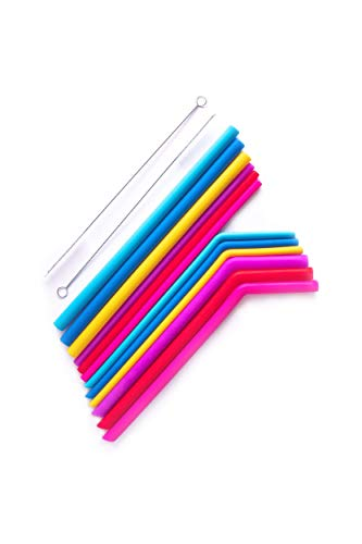 Fun Set Silicone - Reusable Straws 12 Pc Silicone Set - LARGE And REGULAR Sized - BPA Free Multi - Color Reusable Drinking Straws for 20/30oz Yeti,Tumblers,Cups - Curved And Straight, Set of 12 + 2 Cleaning Brushes