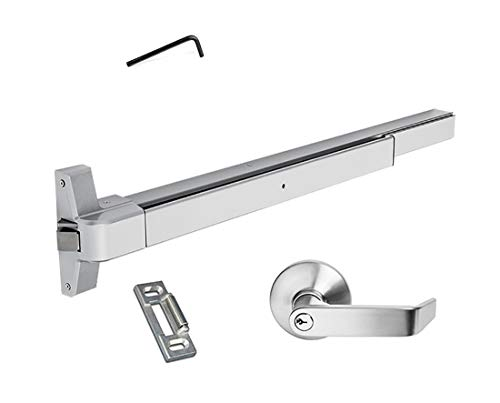 Dynasty Hardware Push Bar Panic Exit Device Aluminum, with Exterior Lever ()