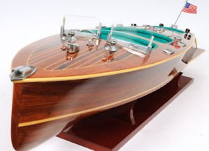 Chris Craft Triple Cockpit Speed Boat Wooden Model 32