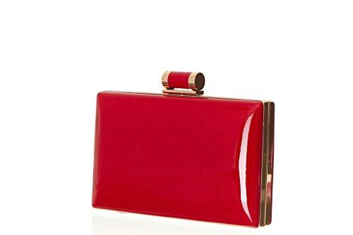 Konstpatent läder rektangulär låda godiskoppling med topplås och kedjeband för kvinnor., - Röd - en storlek