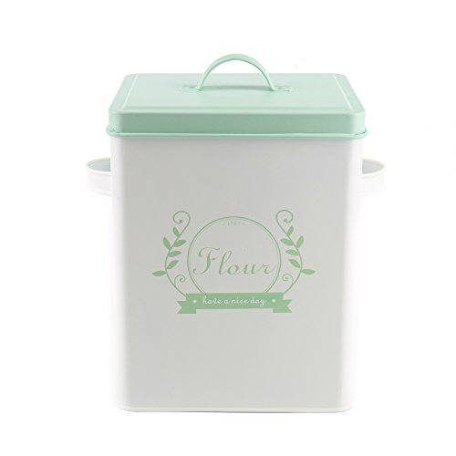 Hot Sale H102 Square Metal Food/Flour/Sundries Kitchen Storage Tin Canister/Bucket/Containers with Lid And Scoop (Light green) (With Tin Lid Bucket)