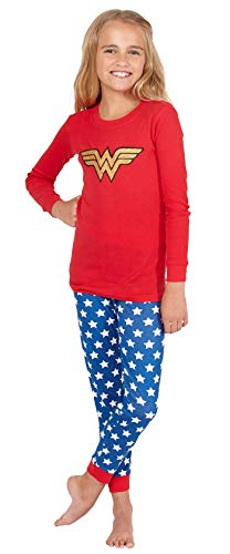 INTIMO Girls' Wonder Woman Glitter Logo Pajama Set -