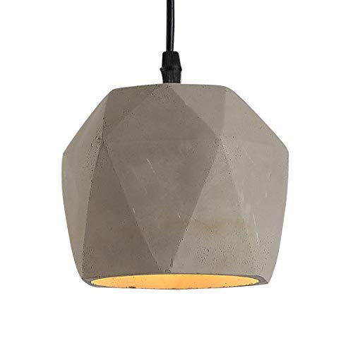 HOMIFORCE UL Listed Industrial Style 1-Light Adjustable Concrete Pendant Light with Cement Shade in Grey Finish-Modern Industrial Edison Style Hanging CL2017056 (Westphal Grey) (Style Lamps Modern)
