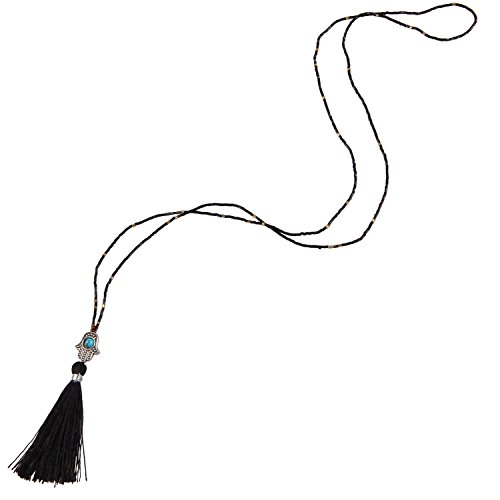 KELITCH Seed Beaded Necklace with Created-Turquoise Tassel Pendant - Black