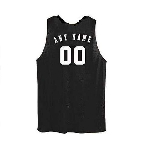 (Black/White Adult Medium Customized (Any Name and/or Number) Basketball Reversible Tricot Mesh Polyester Tank Jersey Shirts)