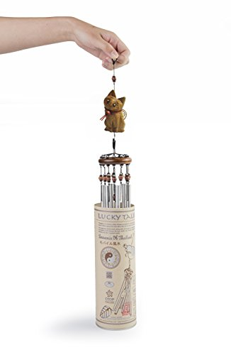 Lucky Talisman Wind Chimes CAT Feng Shui Teak Wood Carving Handmade Aluminum Metal Tubes Size Medium 3 x 21.6 Gift and Souvenir of Thailand for Your Terrace, Patio, Garden, and Outdoor Home Decor.