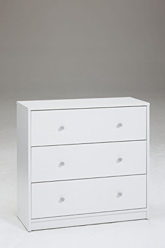 Tvilum Portland 3 Drawer Chest, White (Small White Drawers)