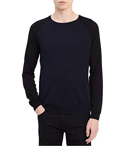 (Calvin Klein Mens Raglan Pullover Sweater, Blue, Small)