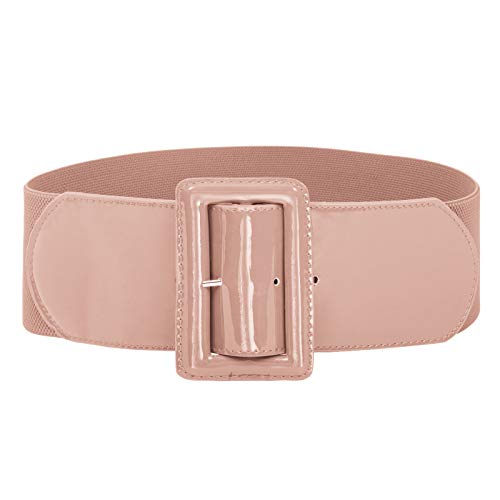 Women Classic Chunky Buckle Stretchy Waist Cinch Belt Pink XL (Leather Waist Cinch Belt)