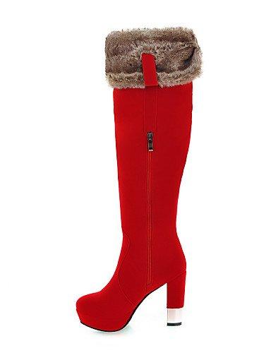 A Cuña Eu36 Moda Cn39 us6 Red La Tacón De Eu39 Botas us8 Punta Uk4 Red Vellón Redonda Xzz Cn36 Rojo Casual Zapatos Negro Uk6 Mujer Vestido Cuñas Plataforma 4vBI7