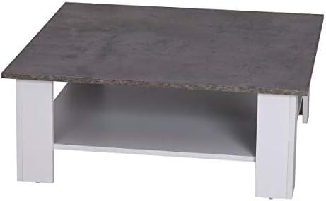 Nuofake - Mesa de café de 2 Pisos, 80 x 80 x 31,5 cm, Color Blanco ...