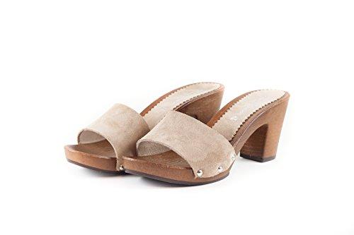SilferShoes - Zoccolo In Pelle Scamosciata, Colore Cipria, Art. NoeMi