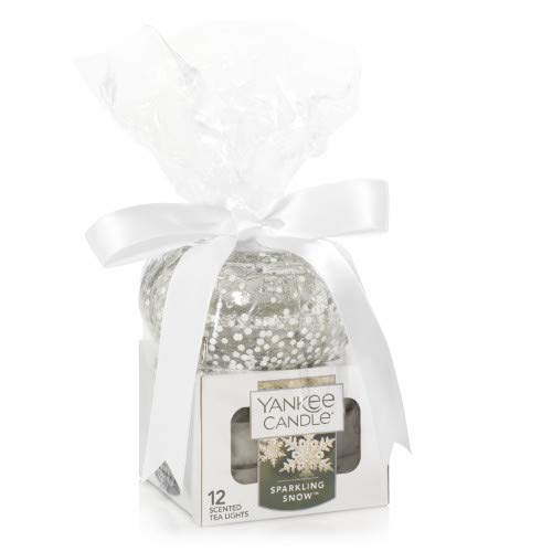 - Yankee Candle Holiday Sparkles Tea Light Holder Gift Set w/ 12 Sparkling Snow Tea Lights