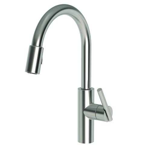 Newport Brass 1500-5103/20 Stainless Steel (PVD) East Linear Kitchen Faucet with Metal Lever Handle and Pull-down Spray Newport Brass Supply