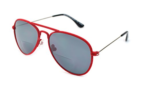 Pilot Sun Aviators - Velvet Trimmed Bi-Focal Reading Sunglasses for Men and Women - Red Plush (+2.00 Magnification Power)