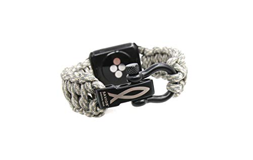 (Savior Survival Gear Apple Watch Band 42mm Replacement Made of 550 Paracord with Stainless Steel Adjustable Shackle (Digital Camo, X-Large))