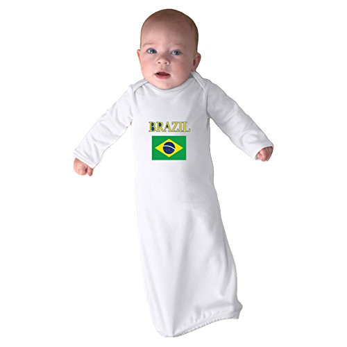 Cute Rascals Love Heart Brazil Soccer Ball Soccer Infant Baby Combed Ring-Spun Cotton Sleeping Gown - White, Gown & Hat Set by Cute Rascals