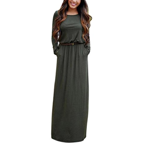GONKOMA Women Boho Summer Long Sleeve Maxi Dress Evening Party Beach Dress (S, Army Green)