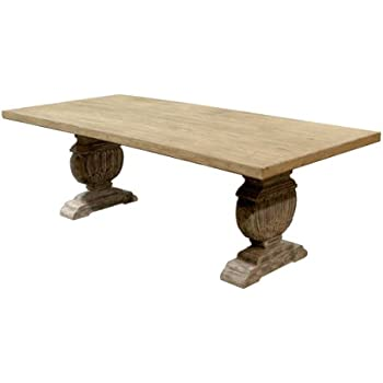Kathy Kuo Home Cervantes French Country Trestle Base Farmhouse Dining Table