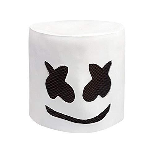Marshmello Music DJ Helmet Full Head Mask Latex Mask Party Novelty Costume Mask Christmas Halloween Bar Music Props White ()