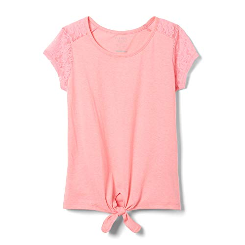 French Toast Girls' Big Short Sleeve Tie-Front Lace Shoulder T-Shirt, Pink Pizzaz, L (10/12)