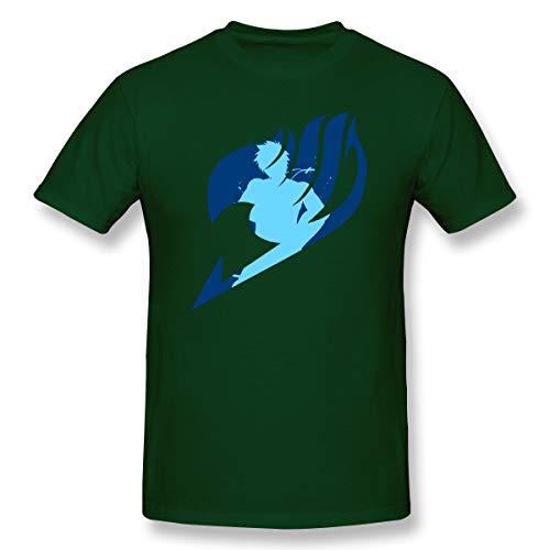 (VJJ AIDEAR Fairy Tail 100% Organic Cotton Short Sleeve T-Shirt for Men Forest Green 37)