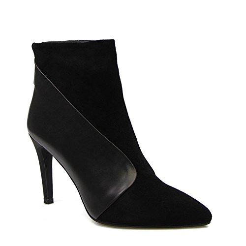 Camoscio Agit Isnom Stivali Caviglia Nero Stile In EXqCn