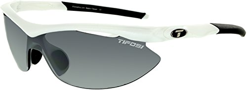 Tifosi Slip T-I061 Shield Sunglasses,Pearl White Frame/Smoke, All-condition Red & Clear Lens,One Size from Tifosi