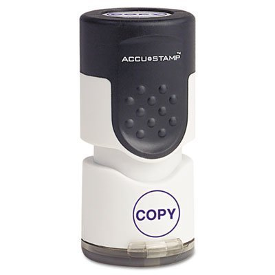 Accustamp Pre-Inked Round Stamp with Microban, COPY, 5/8 dia, Blue, Sold as 1 Each by AccuStamp - Accustamp Pre Inked