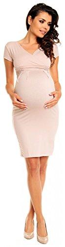 Zeta Ville Mujeres Embarazo Maternidad Verano Casual Tramo Lápiz Vestido 573c Ecru
