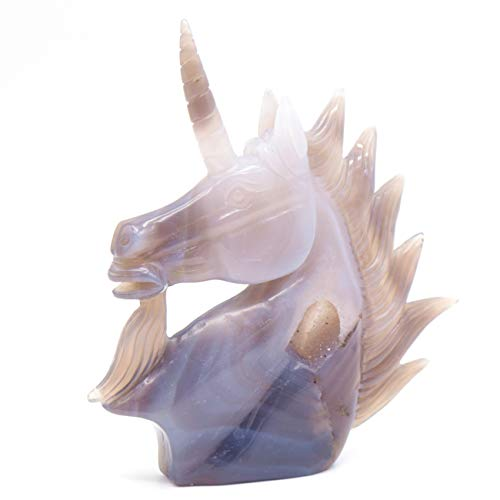 - 5.8'' Natural Agate Geode Quartz Unicorn Figurine Decor Carving Healing Crystal Horse Head Gift