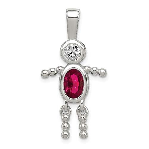- 925 Sterling Silver Cubic Zirconia Cz July Glass Boy Pendant Charm Necklace Birthstone Kid Fine Jewelry For Women Gift Set
