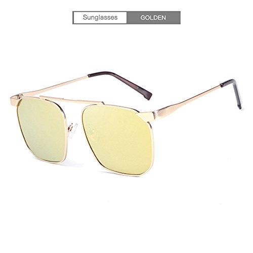 sol moda de anti sol tendencia personalidad al gafas la de polarizantes aire hombres de gafas de de marco UV de Gafas de la gafas de conducción de RFVBNM oro oro libre marco sol metal qRpzYY