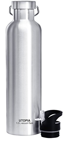 Utopia Home Vacuum Insulated Stainless Steel Water Bottle (1.0L) - Leak Proof - Double Coated Stainless Steel Wall by Utopia Home