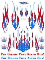 Racers Edge SIC018 US Flag Flames Decal Sheet