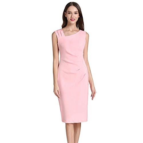 Women's Vintage 1950s Style Sleeveless Slim Business Pencil Dress Summer Casual Party Dress Myoumobi Pink