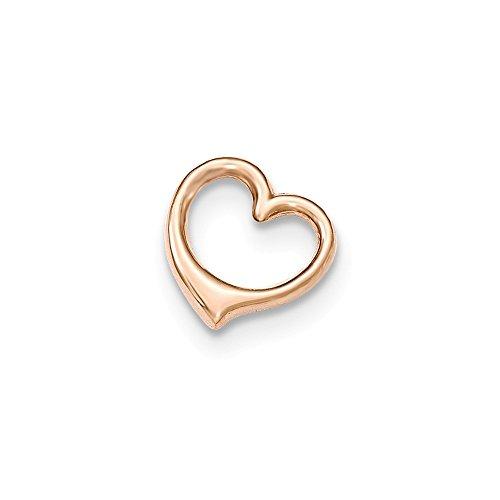 Gold Heart Shaped Slide (Solid 14k Rose Gold 3-D Floating Heart Chain Slide Pendant)