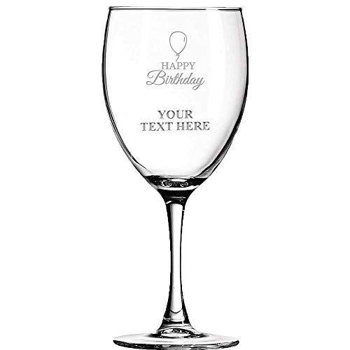 Happy Birthday Personalized Wine Glass - 10.5 oz Soiree Birthday Wine Glass Gift Ideas