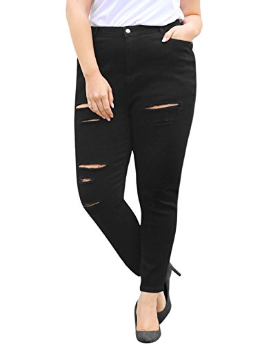 Jeans Mid Fly Rise Zip (Agnes Orinda Women's Plus Size Zip Fly Mid Rise Skinny Ripped Jeans 2X Black)