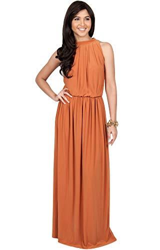 KOH KOH Womens Long Sexy Sleeveless Bridesmaid Halter Neck Wedding Party Guest Summer Flowy Casual Brides Formal Evening A-line Gown Gowns Maxi Dress Dresses, Orange L 12-14